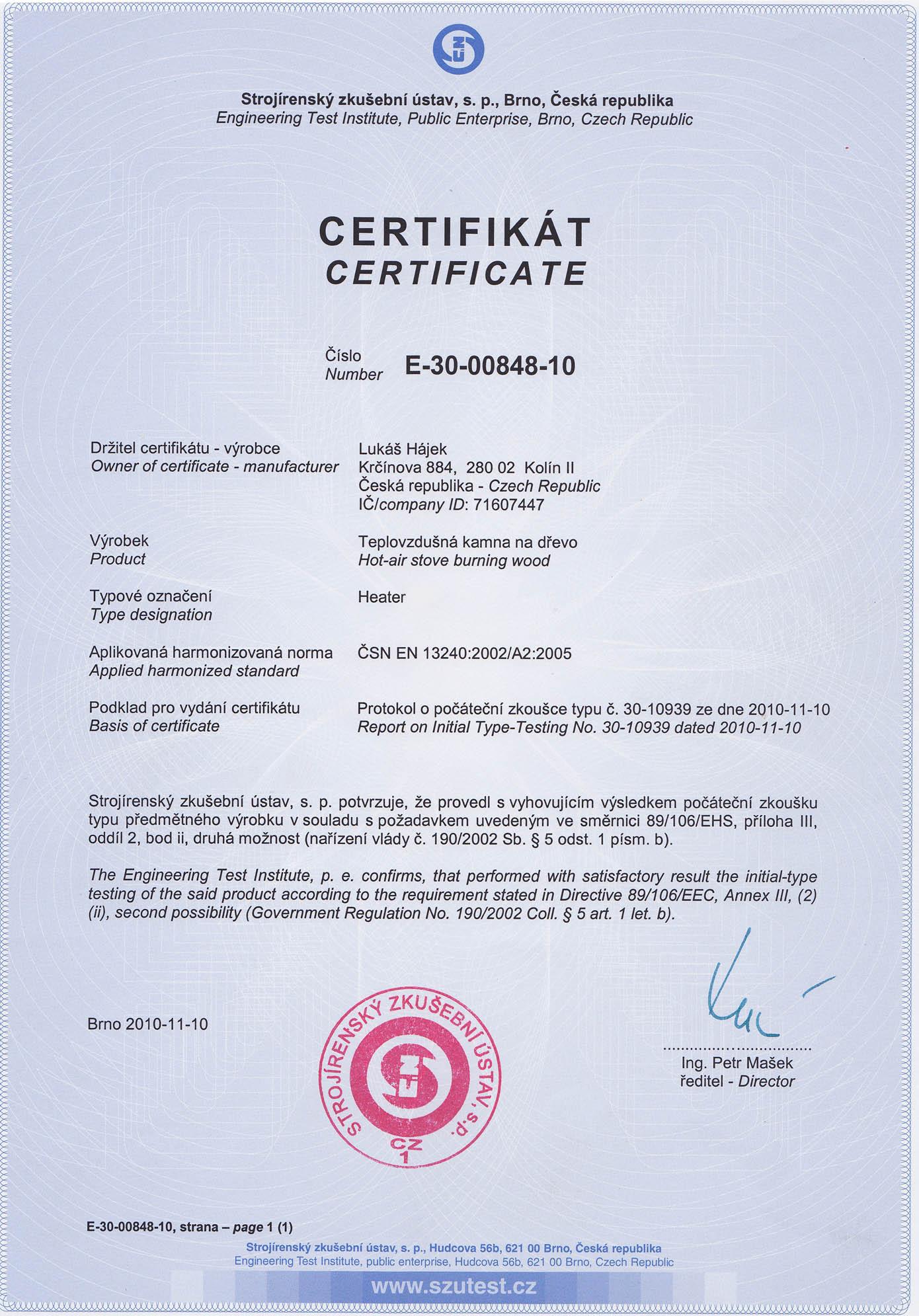 Certifikát HEATER